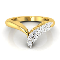 diamond studded gold jewellery - Stefanie Band Ring - Pristine Fire - 2