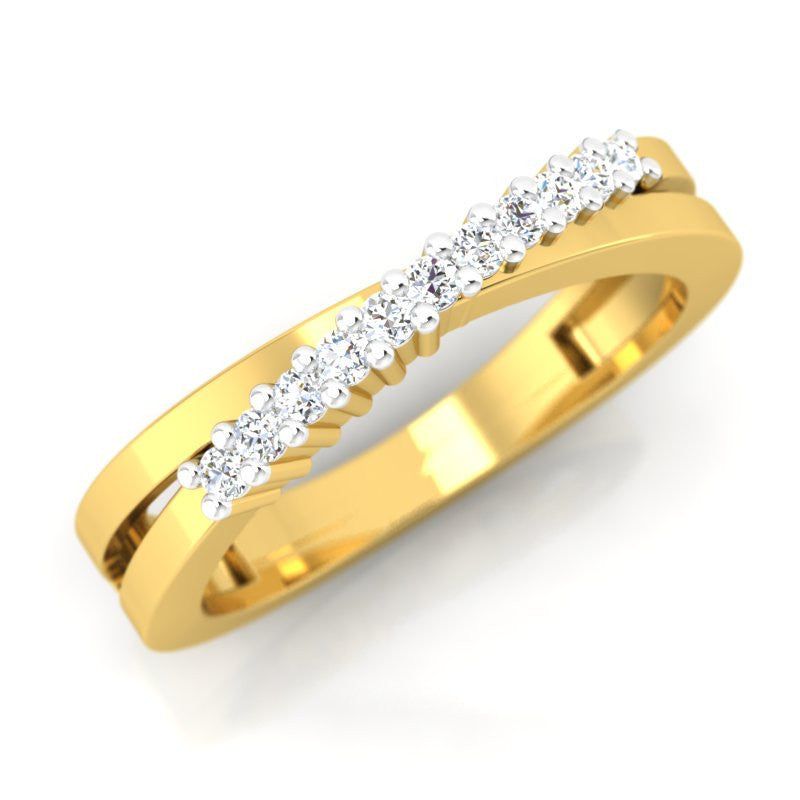 diamond studded gold jewellery - Keeley Band Ring - Pristine Fire - 1