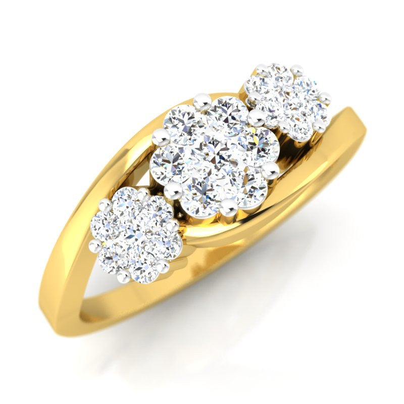 diamond studded gold jewellery - Caridad Cluster Ring - Pristine Fire - 1