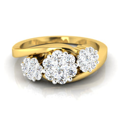 diamond studded gold jewellery - Caridad Cluster Ring - Pristine Fire - 2