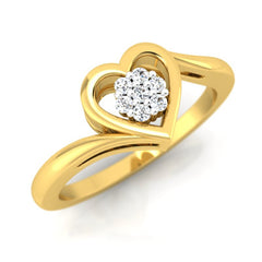diamond studded gold jewellery - Mohana Cluster Ring - Pristine Fire - 1