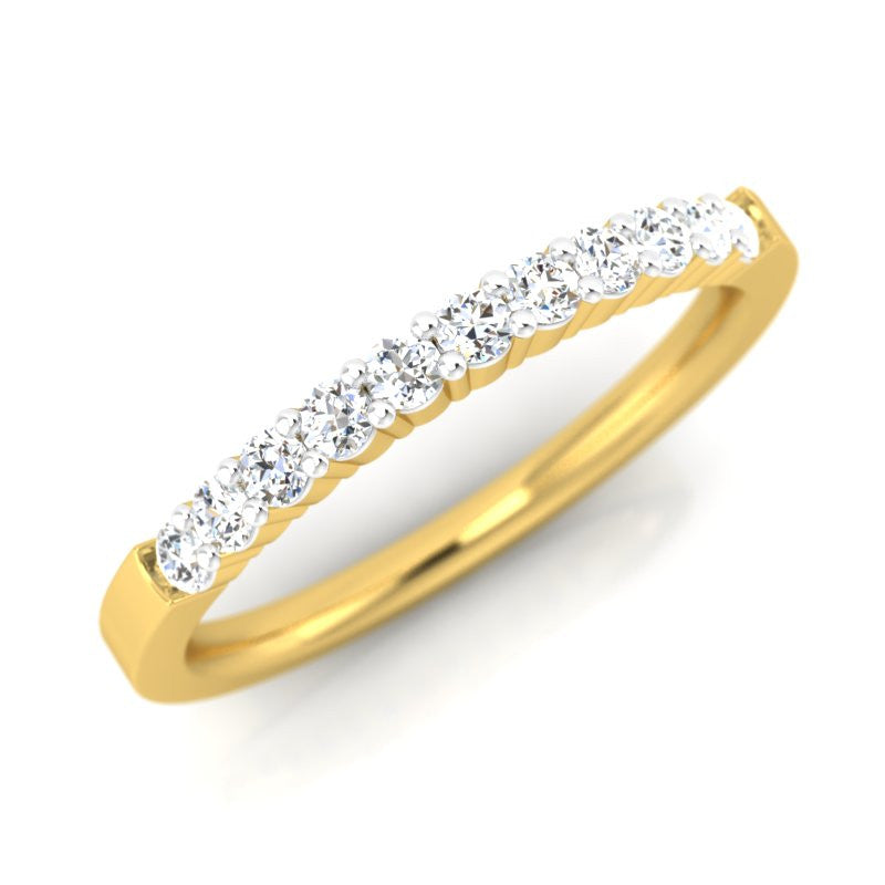 diamond studded gold jewellery - Prema Band Ring - Pristine Fire - 1
