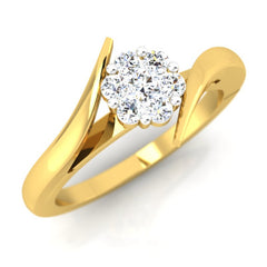 diamond studded gold jewellery - Clematis Cluster Ring - Pristine Fire - 1