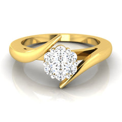 diamond studded gold jewellery - Clematis Cluster Ring - Pristine Fire - 2