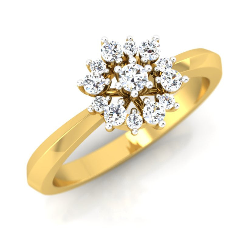 diamond studded gold jewellery - Fritzi Cluster Ring - Pristine Fire - 1