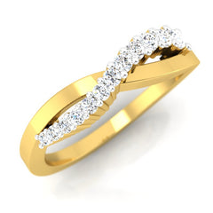 diamond studded gold jewellery - Theia Band Ring - Pristine Fire - 1