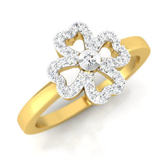 diamond studded gold jewellery - Iris Casual Ring - Pristine Fire - 1