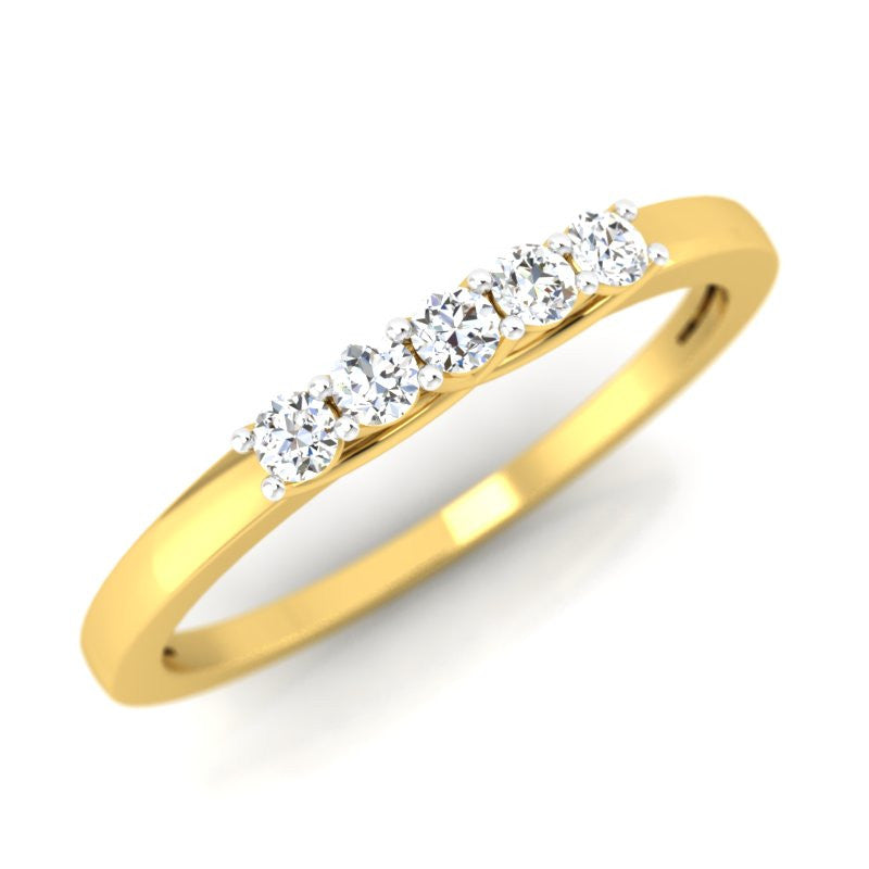 diamond studded gold jewellery - Maryana Band Ring - Pristine Fire - 1
