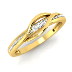 diamond studded gold jewellery - Caramia Band Ring - Pristine Fire - 1