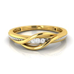 diamond studded gold jewellery - Caramia Band Ring - Pristine Fire - 2