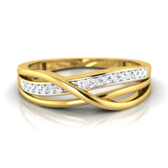 diamond studded gold jewellery - Carmen Band Ring - Pristine Fire - 2