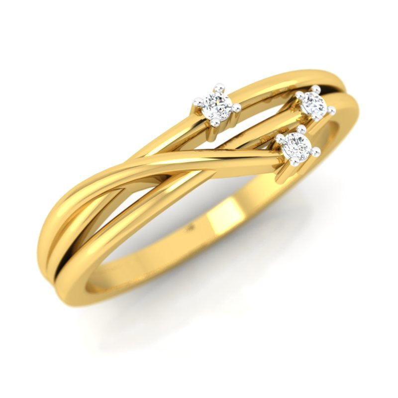 diamond studded gold jewellery - Elze Promise Ring - Pristine Fire - 1