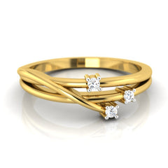 diamond studded gold jewellery - Elze Promise Ring - Pristine Fire - 2