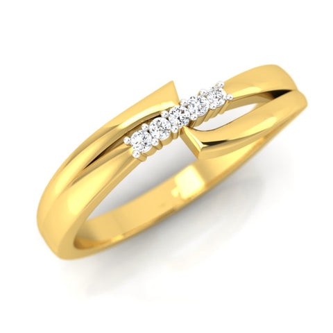 diamond studded gold jewellery - Gretta Band Ring - Pristine Fire - 1