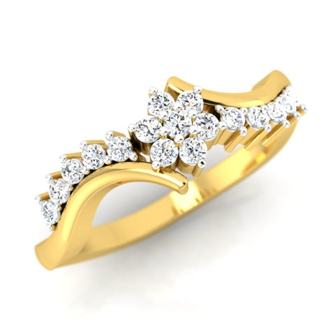 diamond studded gold jewellery - Nadia Cluster Ring - Pristine Fire - 1