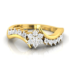 diamond studded gold jewellery - Nadia Cluster Ring - Pristine Fire - 2