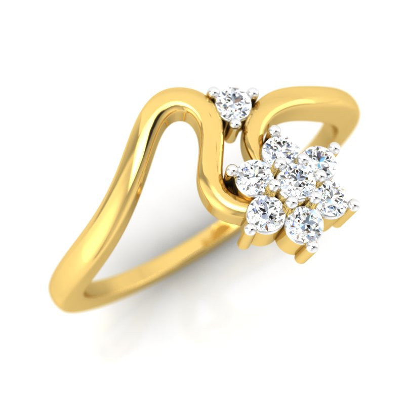 diamond studded gold jewellery - Karina Cluster Ring - Pristine Fire - 1