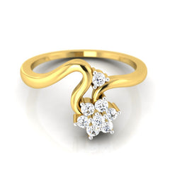 diamond studded gold jewellery - Karina Cluster Ring - Pristine Fire - 2
