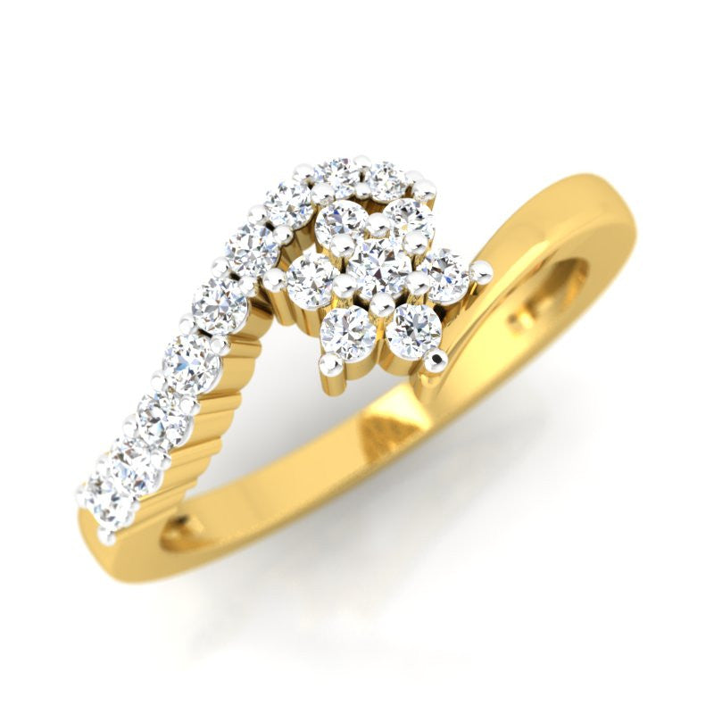 diamond studded gold jewellery - Katja Cluster Ring - Pristine Fire - 1
