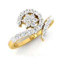 diamond studded gold jewellery - Lorie Cluster Ring - Pristine Fire - 1