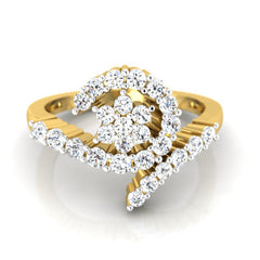 diamond studded gold jewellery - Lorie Cluster Ring - Pristine Fire - 2