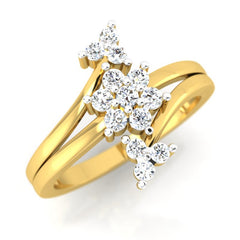 diamond studded gold jewellery - Kalina Cluster Ring - Pristine Fire - 1