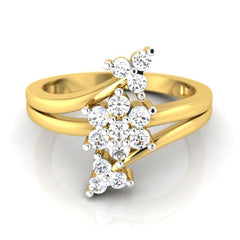 diamond studded gold jewellery - Kalina Cluster Ring - Pristine Fire - 2