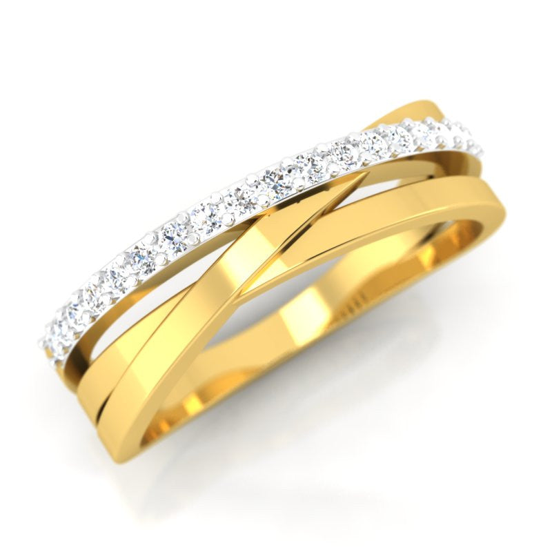 diamond studded gold jewellery - Alkippe Band Ring - Pristine Fire - 1