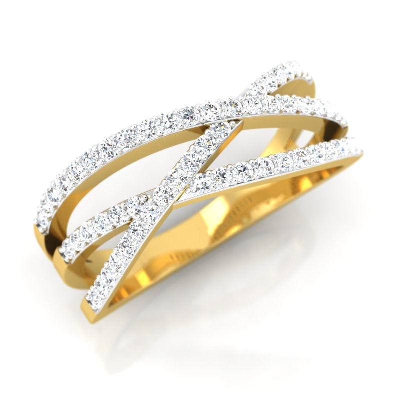 diamond studded gold jewellery - Lesley Band Ring - Pristine Fire - 1