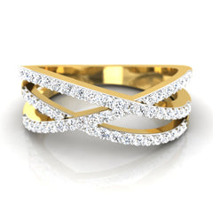 diamond studded gold jewellery - Lesley Band Ring - Pristine Fire - 2