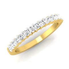diamond studded gold jewellery - Kelia Band Ring - Pristine Fire - 1