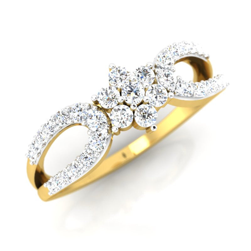 diamond studded gold jewellery - Reba Cluster Ring - Pristine Fire - 1