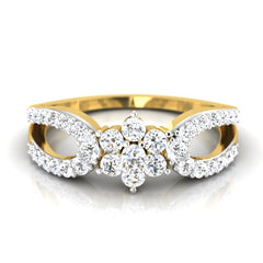 diamond studded gold jewellery - Reba Cluster Ring - Pristine Fire - 2
