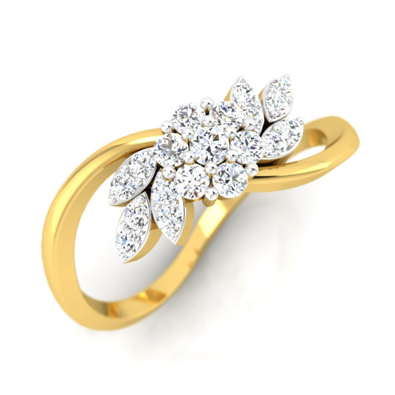 diamond studded gold jewellery - Agnese Casual Ring - Pristine Fire - 1