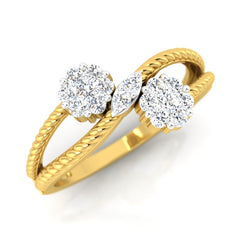 diamond studded gold jewellery - Steph Cluster Ring - Pristine Fire - 1