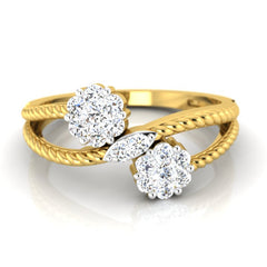 diamond studded gold jewellery - Steph Cluster Ring - Pristine Fire - 2