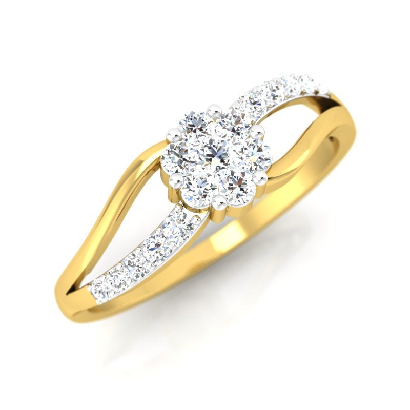 diamond studded gold jewellery - Heather Cluster Ring - Pristine Fire - 1