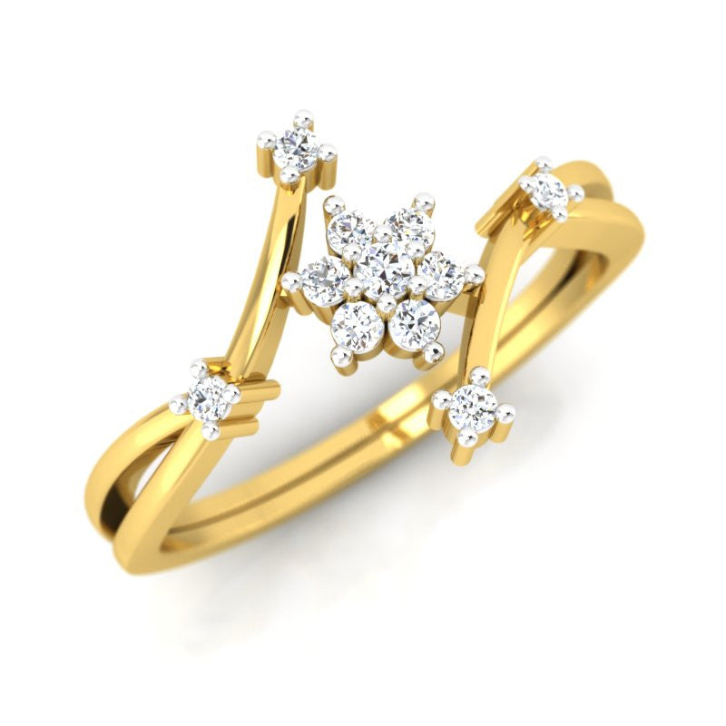 diamond studded gold jewellery - Myung Cluster Ring - Pristine Fire - 1