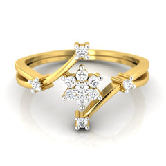 diamond studded gold jewellery - Myung Cluster Ring - Pristine Fire - 2