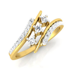 diamond studded gold jewellery - Seeta Three Stone Ring - Pristine Fire - 1