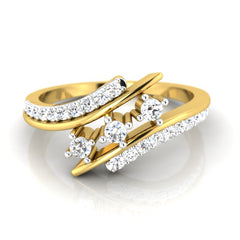 diamond studded gold jewellery - Seeta Three Stone Ring - Pristine Fire - 2