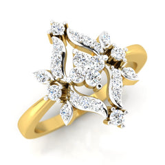diamond studded gold jewellery - Cesarina Fashion Ring - Pristine Fire - 1