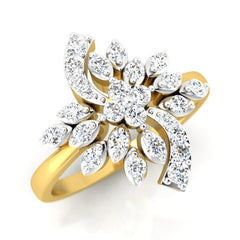 diamond studded gold jewellery - Tereza Cocktail Ring - Pristine Fire - 1