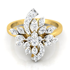 diamond studded gold jewellery - Tereza Cocktail Ring - Pristine Fire - 2