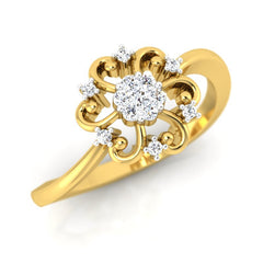diamond studded gold jewellery - Florina Casual Ring - Pristine Fire - 1