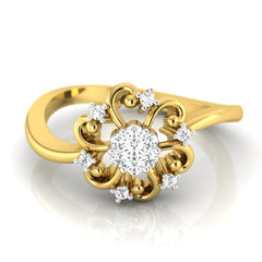 diamond studded gold jewellery - Florina Casual Ring - Pristine Fire - 2
