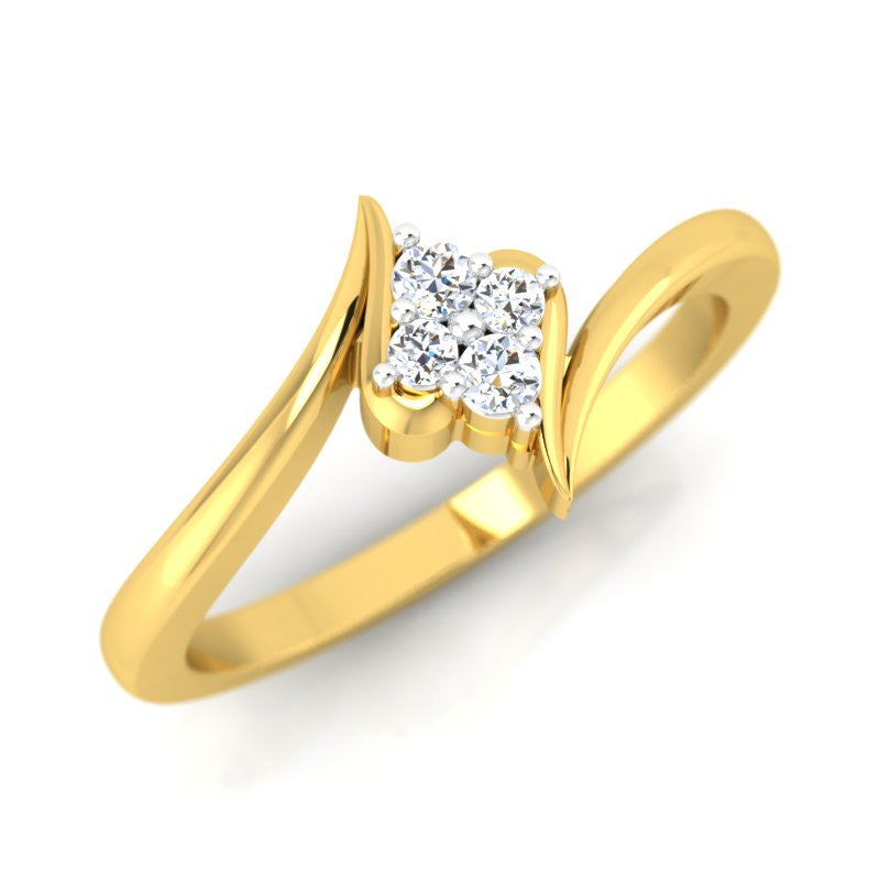 diamond studded gold jewellery - Eka Cluster Ring - Pristine Fire - 1