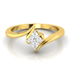 diamond studded gold jewellery - Eka Cluster Ring - Pristine Fire - 2