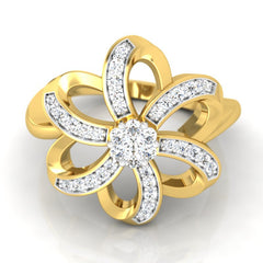 diamond studded gold jewellery - Agape Cocktail Ring - Pristine Fire - 2