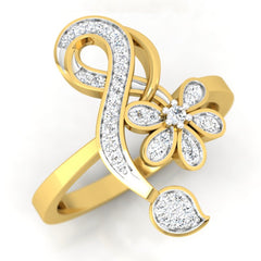 diamond studded gold jewellery - Neves Casual Ring - Pristine Fire - 1
